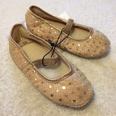 Ladybird Baby Girl's Slip-on Shoes Sparkly Gold + Dots UK Infant Size 7-8 BNWT