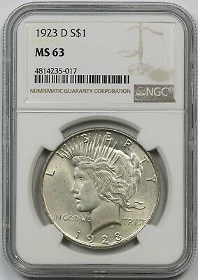 1923-D $1 NGC MS 63 Peace Silver Dollar