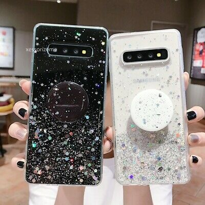 Case For Samsung S10 A10 A70 A50 Crystal Bling Glitter With Pop Up Holder Socket