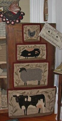 Primitive Hooked Rug Pattern On Linen ~ Farm Friends 4 For 1