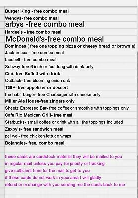 100 Free Combo Voucher meals cheap new / restaurant / fast food/PICK FROM LIST