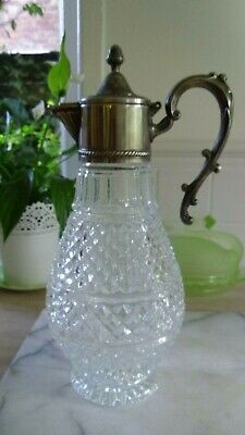 Cut Glass Decanter Ewer Claret Jug Silver Plated Art Nouveau