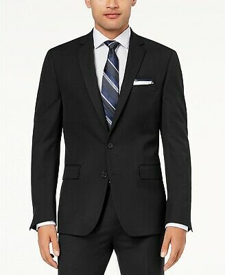 $369 Ryan Seacrest Men's 40R Black 2 Button Fit Suit Jacket Blazer Sport Coat
