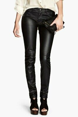 Slim Jeans Jeggings Wet Look Tapered Mid Waisted X H&M Trousers Long Pants 4-18