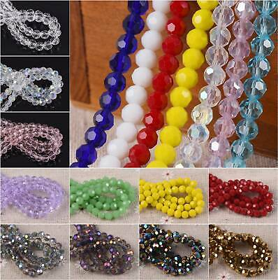 100pcs 6mm Round Sphere Ball Faceted Crystal Glass Loose Spacer Craft Beads lot