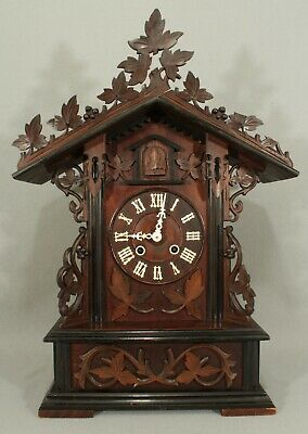 Working Large Black Forest Mantel Cuckoo Clock Made By Gordian Hettich Sohn.