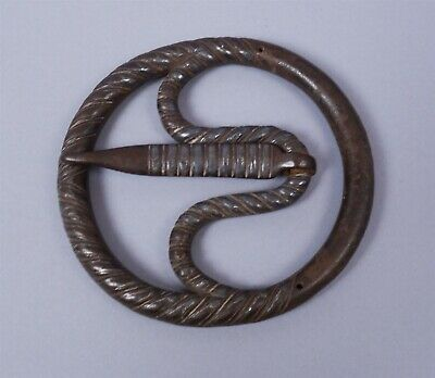 Antique Asian Large Hand Wrought Iron Buckle Hardware