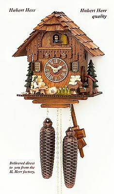 Hubert Herr,  lovely new 8 Day cuckoo clock with moving  beer drinker and goat.