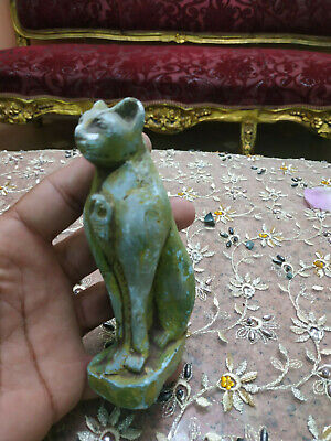 Antique PHARAONIC Ancient Egyptian Cat statue Handcarved Green stone