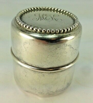 Very Rare Superb Beaded Antique Victorian Sterling Silver Traveling Inkwell