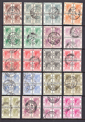 HONG KONG CROWN COLONY 1938-52 SG 140-162a BLOCKS OF FOUR COLLECTION F-VF USED
