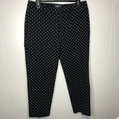Old Navy Harper Women's Ankle Cropped Pants Size 10 Black White Stretch Mid Rise