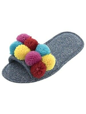 PJ Couture Women's Blue Colorful Pom-Poms Slippers