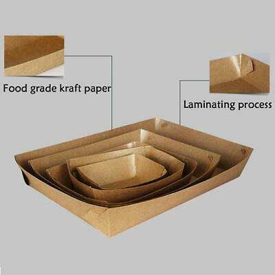 50pcs Box Kraft Etc Paper For Fried Chicken Oil-Proof Boat Shaped Box Tray QQDK