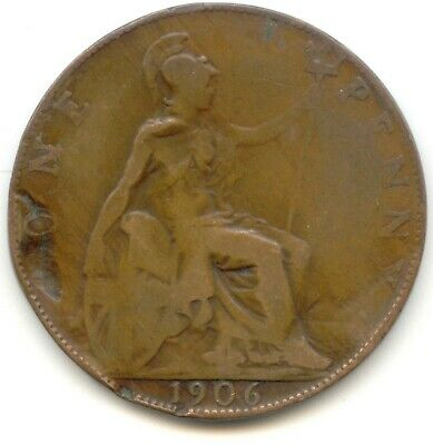 UK 1906 Bronze Penny (95% Copper) Pence Great Britain ---- EXACT COIN PICTURED