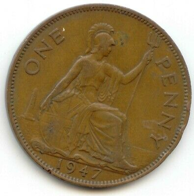 UK 1947 Bronze Penny (95.5% Copper) Pence Great Britain ----- EXACT COIN SHOWN