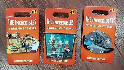 Disney Parks Pixar The Incredibles 15th Anniversary Compete 3-Pin Set LE 3000