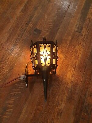 1920S Style Iron Spanish Revival Wall Sconce Lamp Lantern, Amber Glass, Gothic