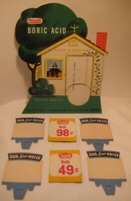 Old Cardboard Sign Advertising Rexall Drug Store Figural House & Tree + Prices
