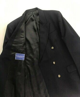 Men's Navy Blue Gieves & Hawkes Blazer 42R Double Breasted Gold Buttons Wool A/B