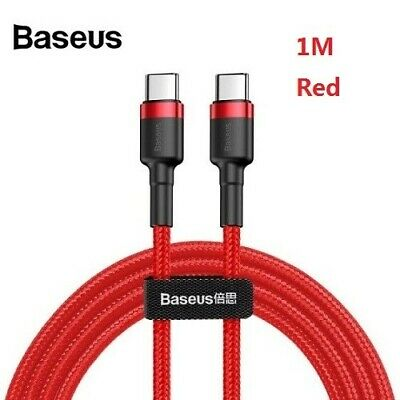 1M Baseus USB C Type-C to Type-C PD 60W Fast Charger Data Cable for Samsung-Red