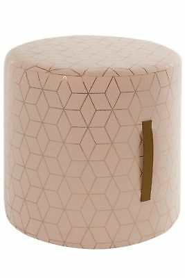 Sitting Stool Cottage Wooden Upholstered Seat Pouf Pink Footrest