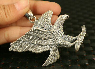 unique old S925 silver hand carved tercel statue pendant netsuke gift