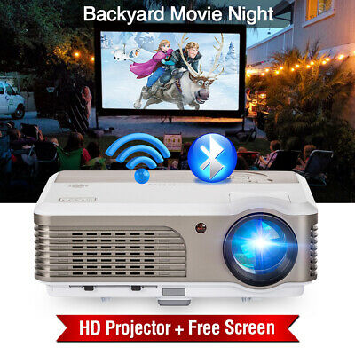 Smart Bluetooth Android HD LED Projector Home Theater HDMI USB With 84'' Screen