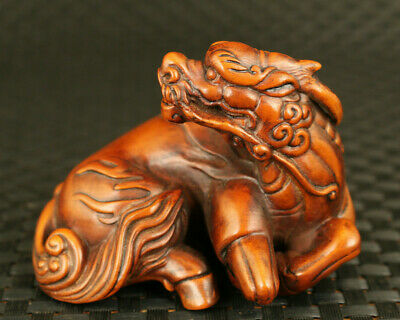 Chinese old boxwood hand carving dragon horse statue noble home decoration gift