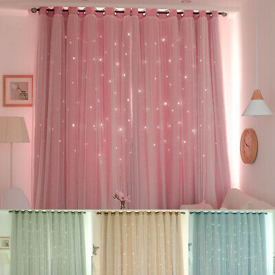 Hollowed Out Star Shading Window Blackout Curtain Princess Drape for Living Room