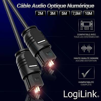 Cable Audio optique TOSLINK Mâle/Mâle Digital Audio Optical HiFi Home Cinéma, So