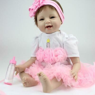 Cute 22inch Reborn Baby Dolls Vinyl Silicone Toddler Girls Real Life Xmas Gifts
