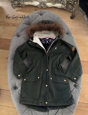 Guaranteed Auth! JOULES Girl's WYNTER Sherpa FUR PARKA Fishtail COAT Age 6 Years