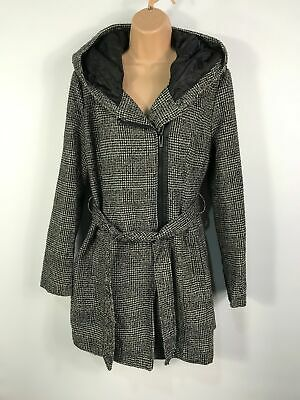 Womens Primark Black And White Check Zip Up Overcoat Jacket With Hood Size Uk 12
