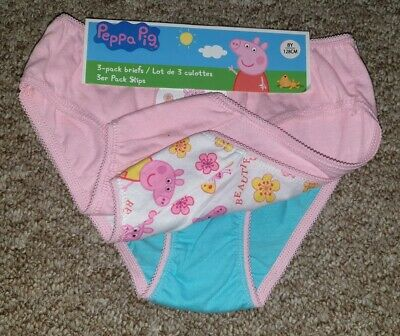 Bnwt X3 Pairs Of Girls Peppa Pig Knickers, Age 7-8 Years In Pink/Blue/White