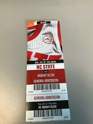 2019 North Carolina State vs Mount Olive Basketball Game Ticket Stub
