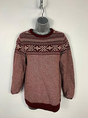 Womens Next Red Wine White Pattern Knitted Jumper Sweater Pull Over Size S Small
