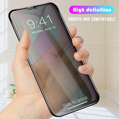 For i Phone 11 Pro X Xs Max Xr Anti-Spy Screen Protector Privacy Tempered Glass
