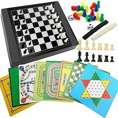 Set of 21 Magnetic Travel Board Games Compendium Play Set Chess Ludo Checkers