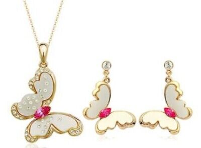 Fabulous 18k Gold Plated Girls' Women's Earrings & Necklace Jewellery Set