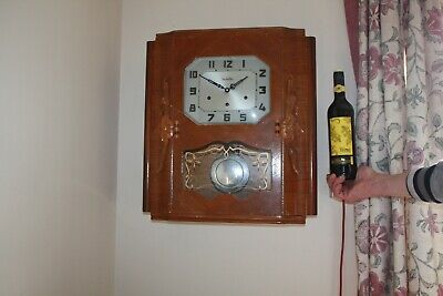 vintage  french-Wall Clock VEDETTE..westminster chimes with Pendulum G.W.O