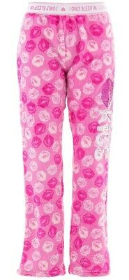 Em and Alfie Juniors Kisses Pink White Coral Fleece Pajama Pants
