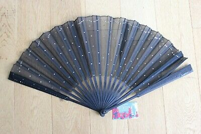 Fan Former Tulle and Sequins Wood Blackened Fan Ventaglio Collection Fashion