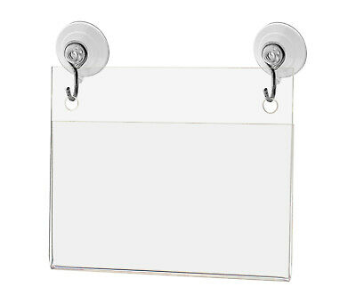 """Business Card Small Signage Holder 3.5""""W x 2""""H Wall Mount Hooks and Suction Cups"""