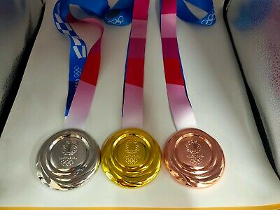 Tokyo 2020 Olympic Replica 'Medals Set (Gold/Silver/Bronze) with Silk Ribbons !!