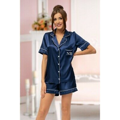 Ladies Personalised Initial Monogram NAVY Satin Short Sleeve Pyjama Set Pyjamas