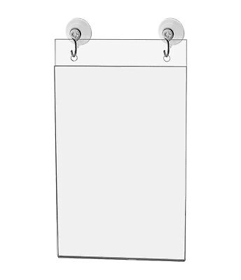 "Ad Frame Sign Holder Wall Mount 4""W x 6""H with Hooks and Suction Cups"