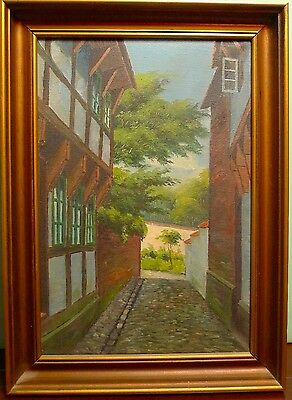 Unknown Artist/Old Town Gasse / Oil Painting/Mecklenburg