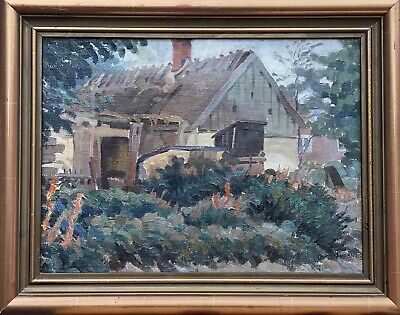 Unknown Expressionist - Old Farmhouse with Garden - Signed Christenson