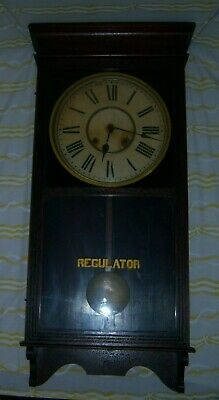 Antique Sessions 8 Day Store Wall Regulator Clock w/ Key Winsted Con USA Working